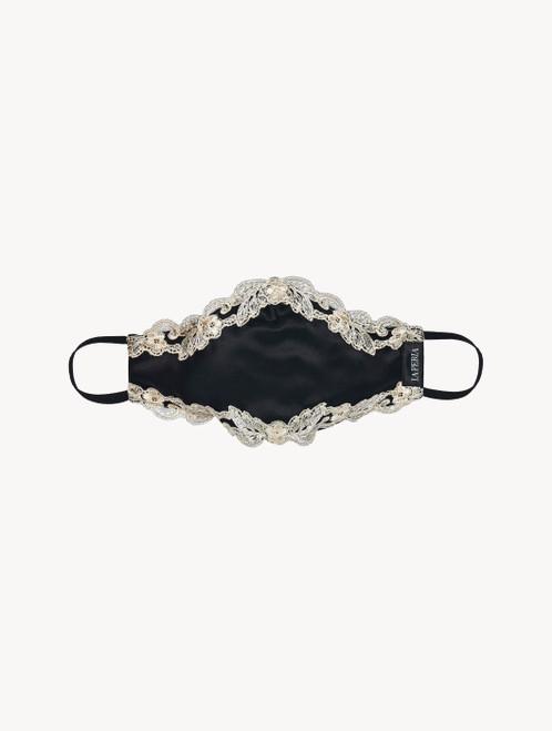 Masque en satin de soie noir rehaussé de guipure « frastaglio »