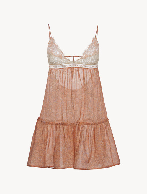 Slip dress en georgette de soie rose avec dentelle Leavers
