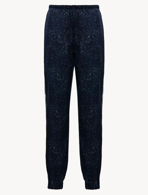 Pantalon en satin de soie bleu foncé