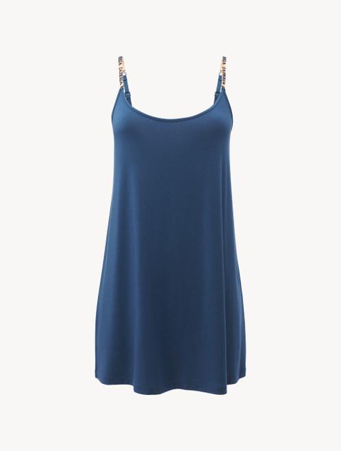 Slip dress en jersey de soie et modal bleu foncé