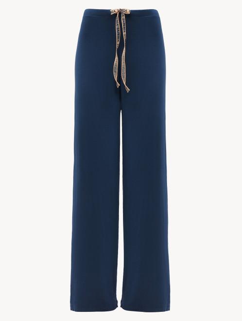 Pantalon en jersey de soie et modal bleu foncé
