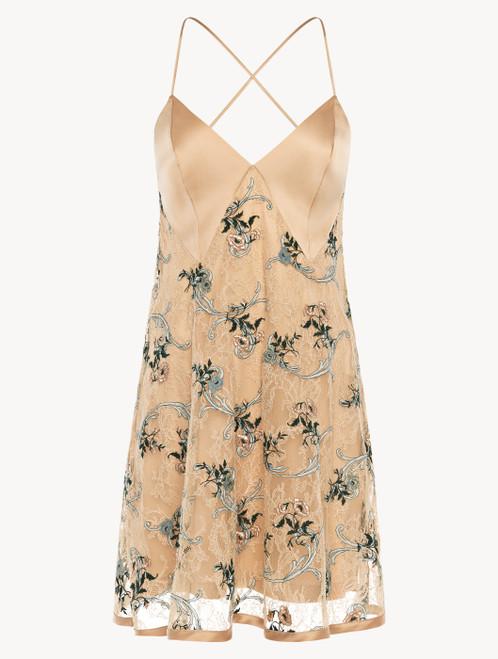 Slip dress en dentelle Leavers couleur sable