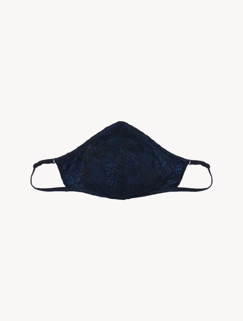 Masque en dentelle jacquard italienne noire et bleue