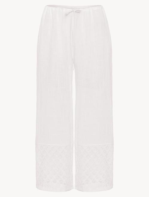 Pantalon longueur mi-mollet en coton blanc