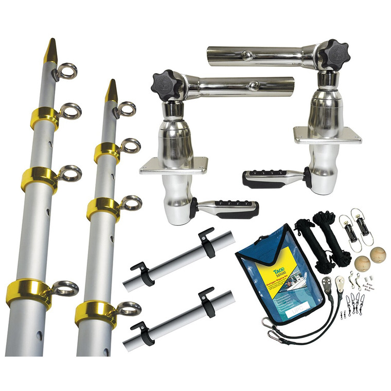 TACO Grand Slam 280 Package w/15' Silver/Gold Poles, Premium Rigging Kit & Line Caddy [GS-2841VEL-1]