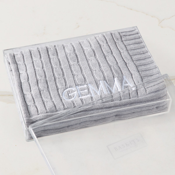 Embroidered Cable Knit Blanket (Grey) Gift Basket (B120G21)