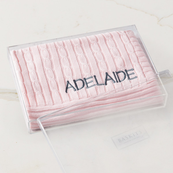Embroidered Cable Knit Blanket (Pink) Gift Basket (B120P21)