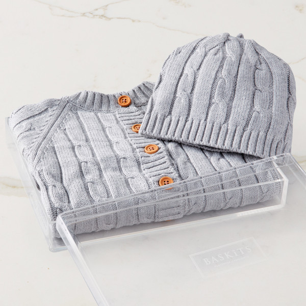Cable Knit Sweater & Hat (Grey) Gift Basket (B121G21)