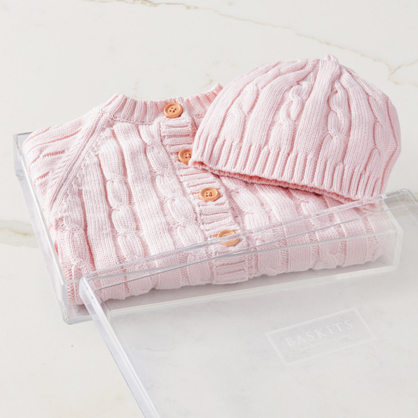 Cable Knit Sweater & Hat (Pink) Gift Basket (B121P21)