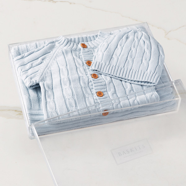 Cable Knit Bundle - Blue (no embroidery) Gift Basket (B14320)