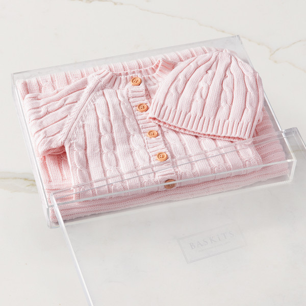 Cable Knit Bundle - Pink (no embroidery) Gift Basket (B14420)