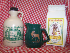 Vermont Maple Syrup, Pancake Mix & Ceramic Pitcher