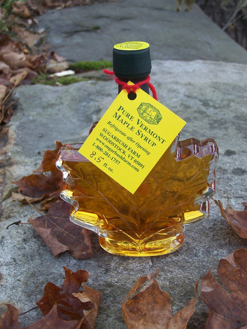 """3.4oz Pure Vermont Maple Syrup """"Leaf"""" Shaped Bottle"""