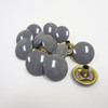 "Grey Enamel Snap Fastener Button Cap - 1/4"" Stem"