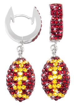 Maroon-and-gold-football-crystal-earrings