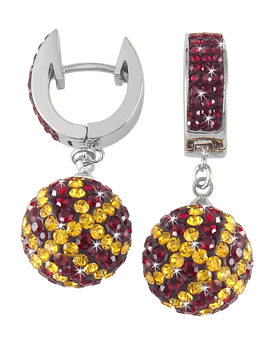 Maroon-and-Gold-crystal-basketball-earrings