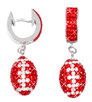 red-and-white-crystal-football-earrings
