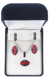 black-and-red-crystal-football-pendant-and-earrings-jewelry-set