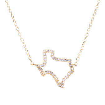 Gold Texas Outline Stone Necklace