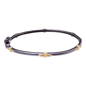 Gray Stone Bangle With Gems - Flower Pattern