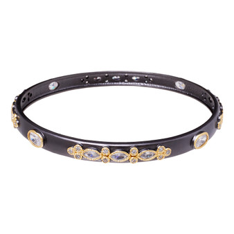 Gray Stone Bangle With Gems - Three Stone Pattern
