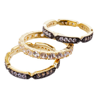 Stackable rings - three black and gold design
