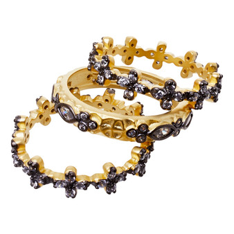 Stackable rings - three crowns design