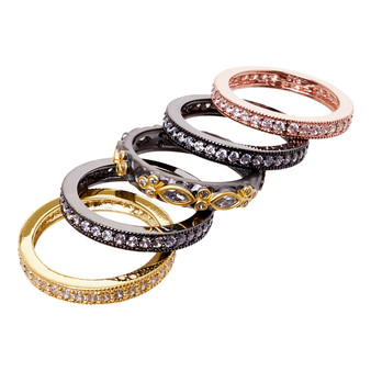 Stackable rings - five gold black rose gold design