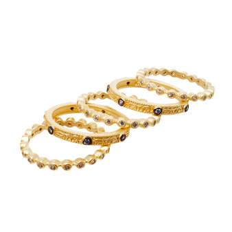Stackable rings - five egyptian pattern design