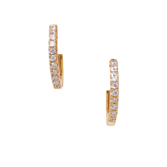 Gold CZ Drop Earrings - Small Hoop shape