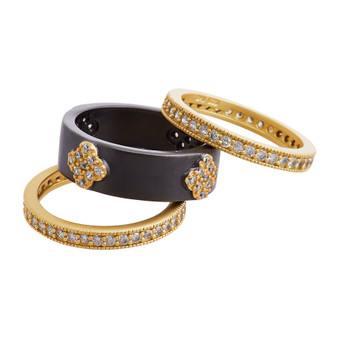Black Rhodium and Gold Clover Ring Set