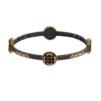 Rhodium and Gold Cross Bangle