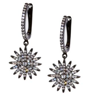 Starburst Dangle Earrings - Black