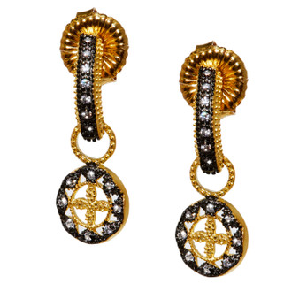 Cross and dangle CZ Earrings