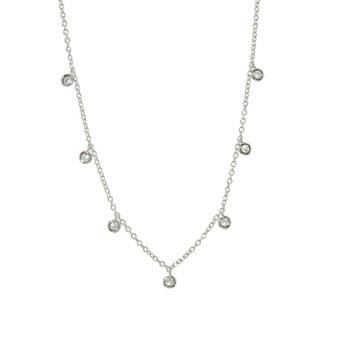 Gemstone Dangle Necklace - Silver