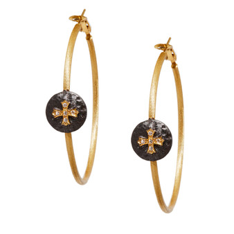 Gold Cross Hoop Earring