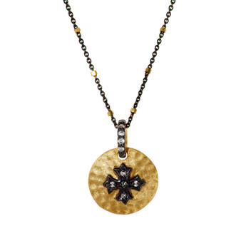 Gold Cross Pendant - Gold Beads