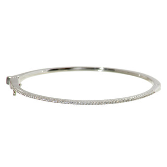 Silver Shimmering Gemstone Bangle