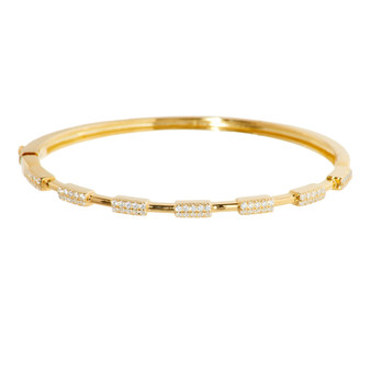 Gold Baguette Gemstone Bangle