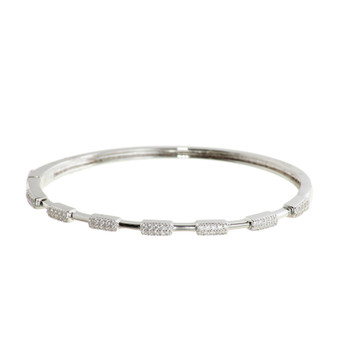 Silver Baguette Gemstone Bangle