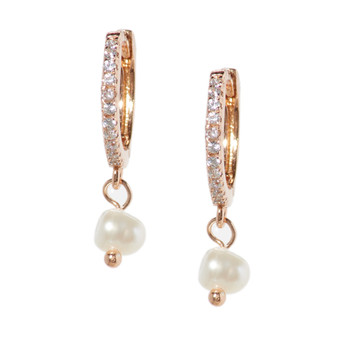 Rose Gold Hoop Drop Pearl Earrings