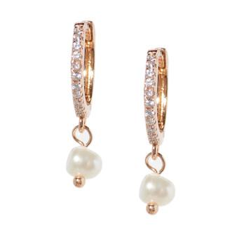 Rose Gold Hoop Drop Pearl Earrings