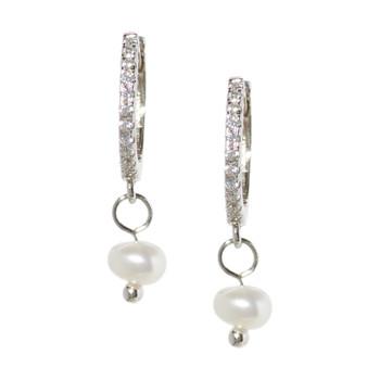 Silver Hoop Drop Pearl Earrings