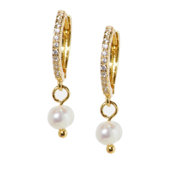 Gold Hoop Drop Pearl Earrings
