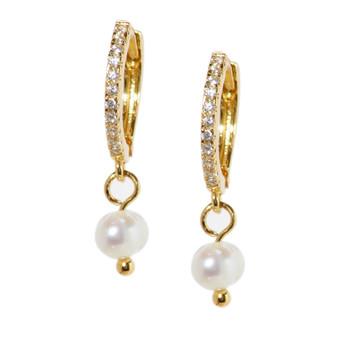 Gold Hoop Drop Pearl Earrings
