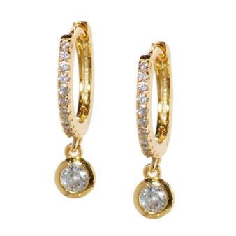 Gold Hoop Drop Circle Earrings