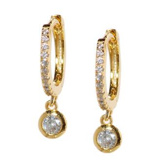 Gold Hoop Drop Circle Earrings