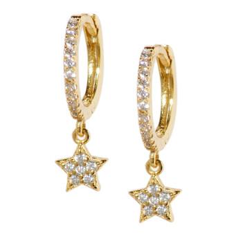 Gold Hoop Drop Star Pattern Earrings