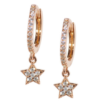Rose Gold Hoop Drop Star Pattern Earrings