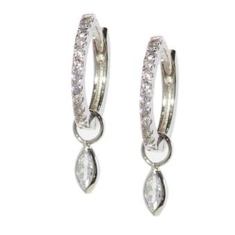 Silver Hoop Drop Tear Pattern Earrings